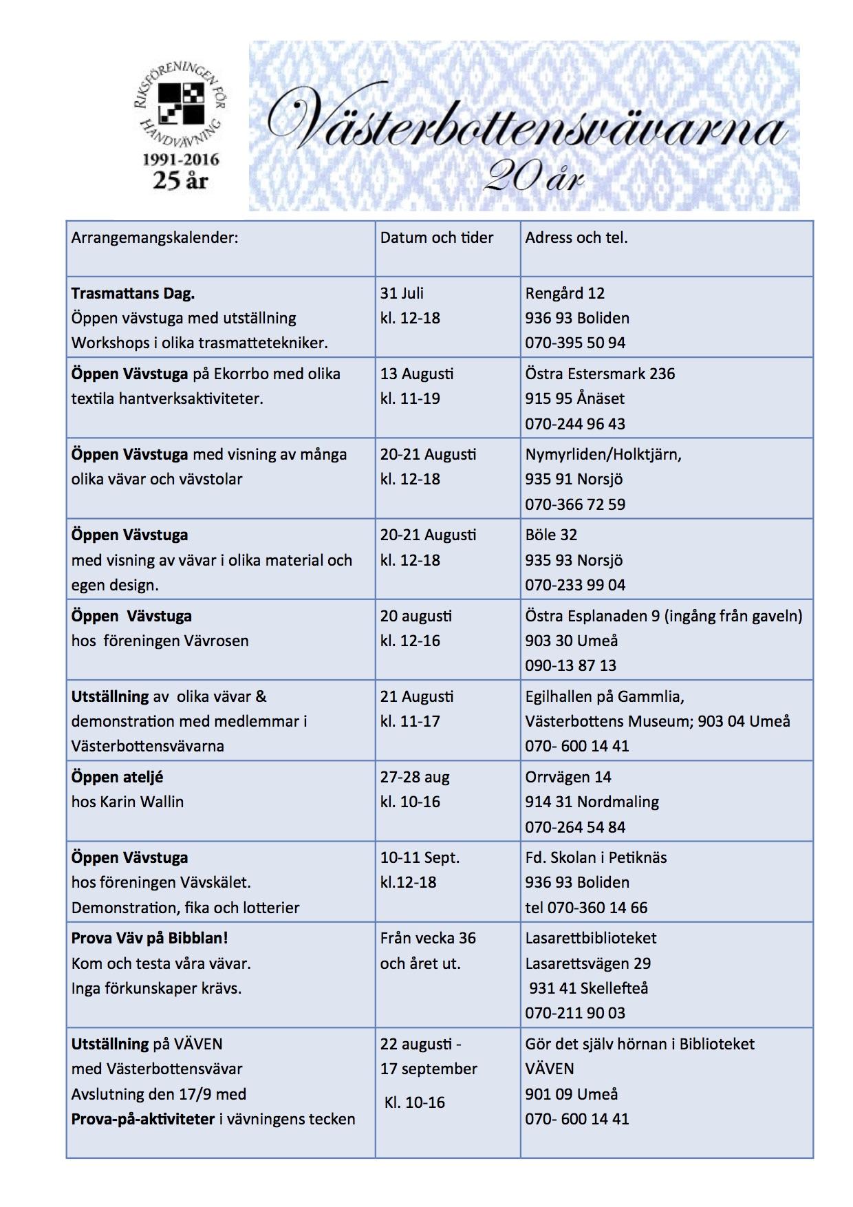 Västerbottensvävarna evenemangskalender