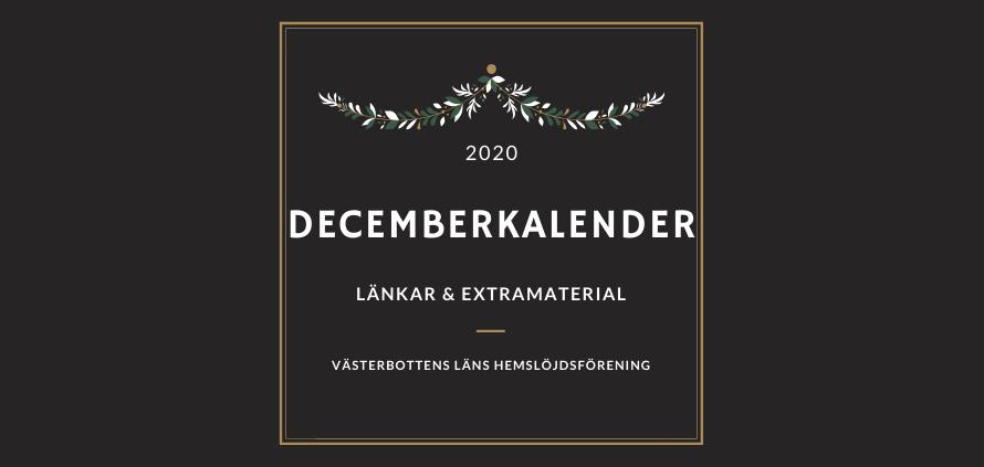 Decemberkalender – länkar & extramaterial